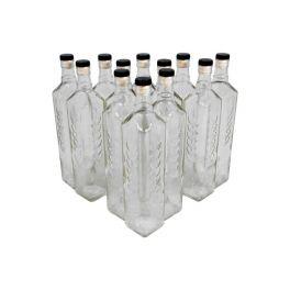 Комплект стеклянных бутылок с пробкой «колос» 0,7 л (12 шт.)